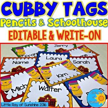 Cubby Tags Pencils & Schoolhouse: EDITABLE & WRITE-ON