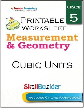Cubic Units Printable Worksheet, Grade 5