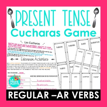 ¡Cucharas! Spoons Game for Present Tense of Regular -AR Verbs