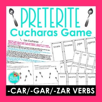 ¡Cucharas! Spoons Game for Preterite CAR/GAR/ZAR Verbs