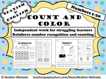 Number Recognition Cuenta y colorea 1-20 / Count & Color 1