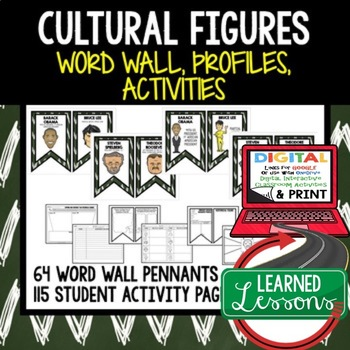 Cultural Figures Word Wall, Profiles & Activity Pages (History)