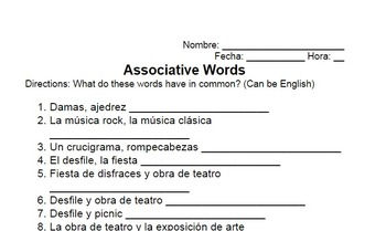 Cultural Leisure Activities Vocabulary Associative Words & Charts