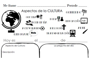 Aspectos de la Cultura - Culture-Based Daily Writing Form