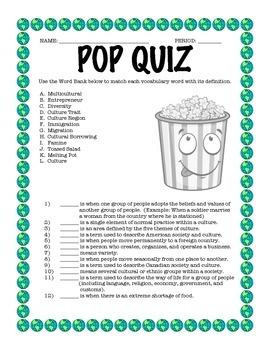 Culture Vocabulary Quiz