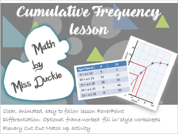 Cumulative Frequency Lesson - Choose a resource for free i