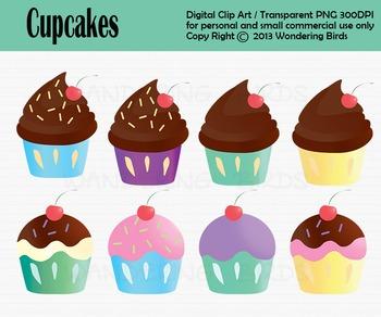 Cup cake clip art - set of 8 clip arts