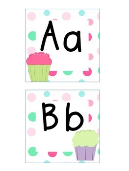 Word Wall Letters and Alphabet Heading Cupcakes and Polka