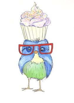 Cupcake Birdie Art