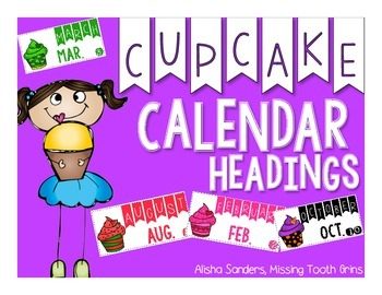 Cupcake Calendar Headings