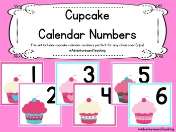 Cupcake Calendar Numbers {Pink and Teal}