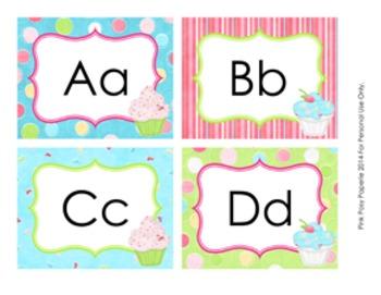 Cupcake Classroom Decor Word Wall Headers