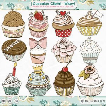 Birthday Cupcake ClipArt, Pretty Pastel Pink, Chocolate ch