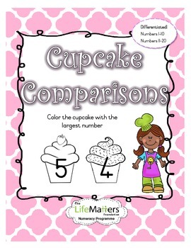 Cupcake Comparisons Coloring Worksheet Differentiated for