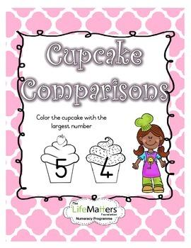 Cupcake Comparisons Coloring Worksheet for Numbers 1-10 FREEBIE
