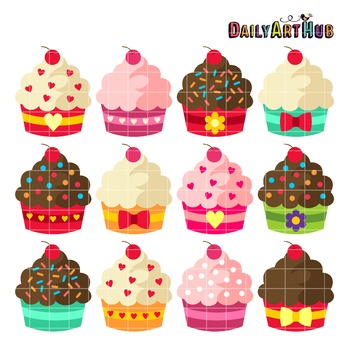 Cupcake Cutesie Clip Art - Great for Art Class Projects!