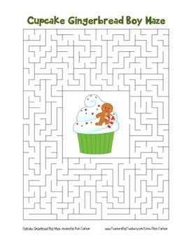 """""""Cupcake Gingerbread Boy"""" Maze! Holiday FUN! (Color and Bl"""
