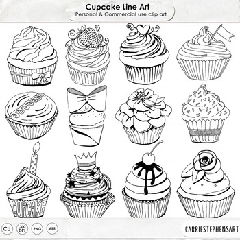 Cupcake Line Art, Cupcake Outlines, Doodled Birthday Cupcakes