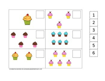 Cupcake Match the Numbers preschool learning game.  Child
