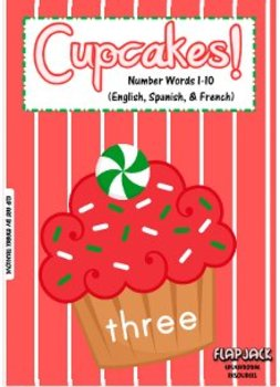 Cupcake Number Word Lids in English, Spanish, and French