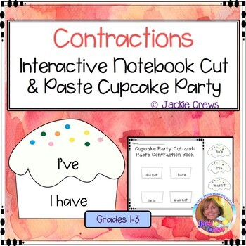 Cupcake Party Cut & Paste Contraction Book