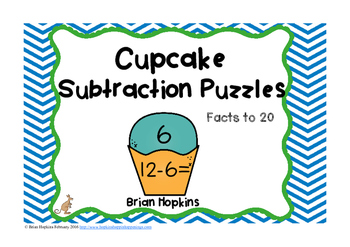 Cupcake Subtraction To 20 Puzzles