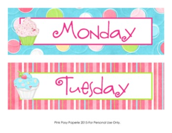 Cupcake Theme Days of the Week Calendar Headers