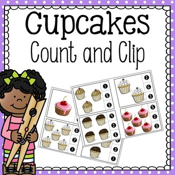 Count and Clip Cards - Cupcakes