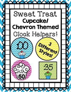 Cupcake and Chevron Themed Clock Helpers