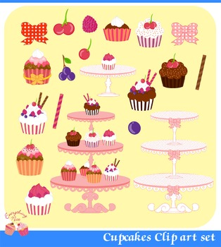 Cupcakes Cup Cakes Clipart Set