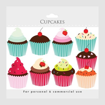 Cupcakes clipart - cupcake clip art, cakes, bakery, sweets, food