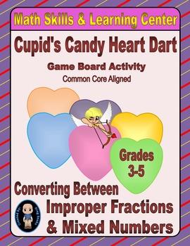 Valentine's Math Skills & Learning Center (Improper Fracti