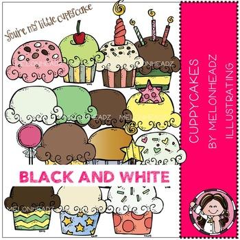 Melonheadz: Cuppycakes clip art - BLACK AND WHITE