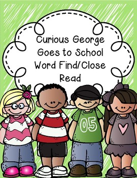 Curious George Goes To School Word Work