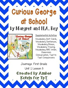 Curious George at School Activities 1st Grade Journeys Uni