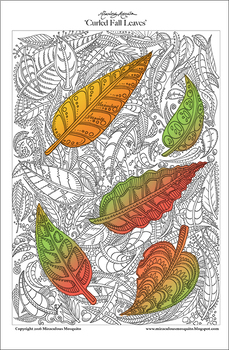 Curled Fall/Autumn Leaves - Detailed Coloring Page