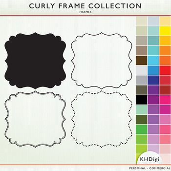 Curly Frame Collection  - 4 Styles of Frames -  46 colors each