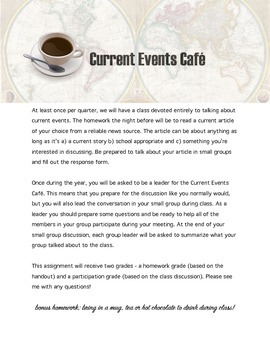 Current Events Cafe Activity