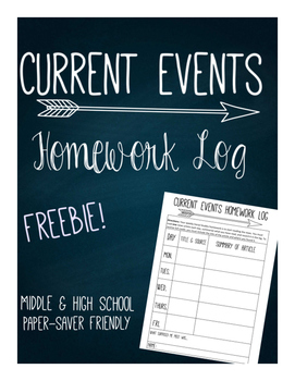 Current Events Homework Log Freebie!