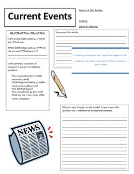 Current Events Response Sheet