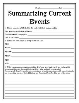 Current Events Summarizing News Article Worksheet Current