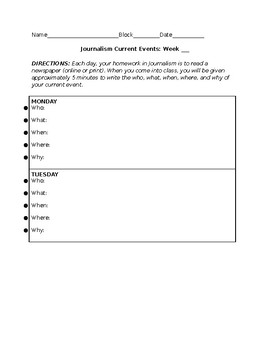 Current Events: Week's Template