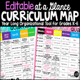 Curriculum Map Template Editable at a Glance organizer