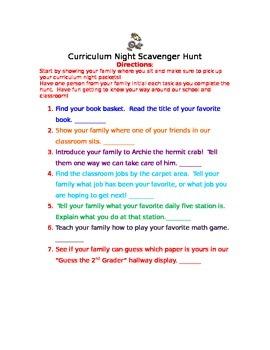 Curriculum Night Activity