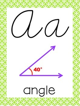 Cursive 5th Grade Math Alphabet (Lime, Purple, Orange)