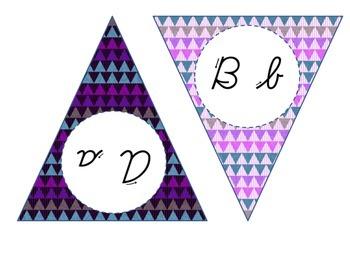 Cursive Alphabet Banner (Purple)