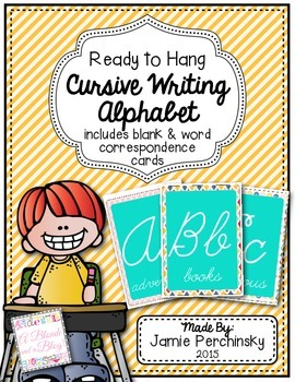 Cursive Alphabet Cards: Featuring School Themed Word Examples