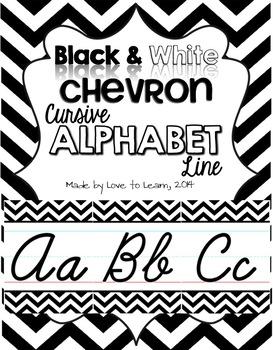 Cursive Alphabet Line - Black & White Chevron