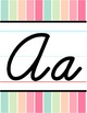 Cursive Alphabet Line - Sherbet Vertical Stripes