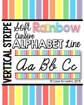 Cursive Alphabet Line - Soft Rainbow Vertical Stripes